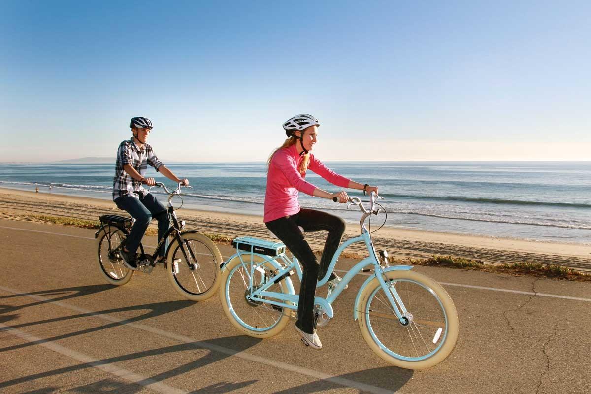 Riding an E-Bike on the Beach